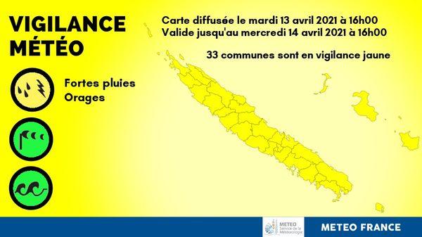Vigilance jaune du 13 avril 2021