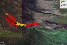 La coulée a stoppé sa progression en direction du Grand-Brûlé. En revanche, l'intensité constante du trémor permet aux laves de s'étendre au pied du cratère Bonnet à l'aplomb du Nez Coupé du Tremblet.