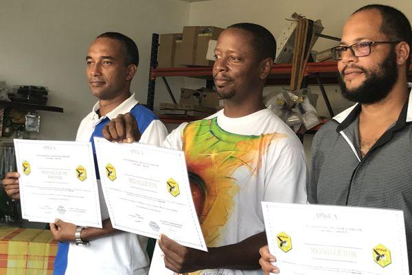 Les trois lauréats du concours régional 2018 des Miels de Guadeloupe