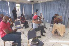 Quelques représentants des médias martiniquais lors d'une conférence de presse.