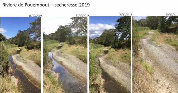 Le niveau de la Pouembout, asséchée, fin 2019