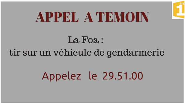 Appel à témoin : tir sur un véhicule de gendarmerie