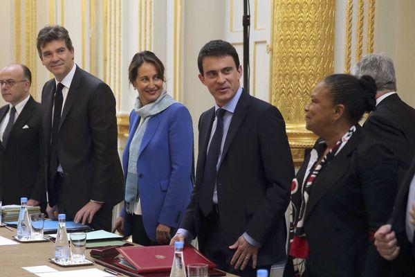 4 avril 2014 : Christiane Taubira lors du premier conseil des ministres du gouvernement Valls 1.