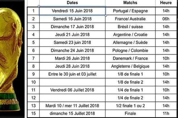 Planning coupe du monde de football Martinique la 1ère