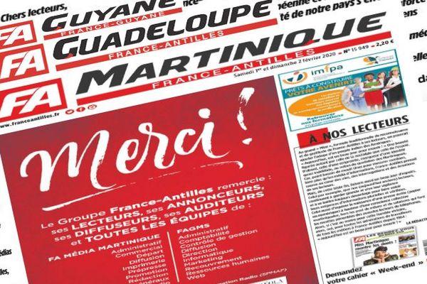 dernière une du journal France-Antilles (samedi 1er février 2020)
