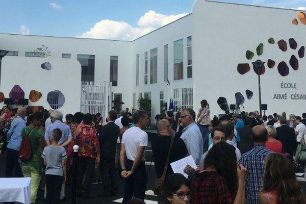 Manuel Valls inaugure l'école Aimé Césaire, à Evry, en banlieue parisienne