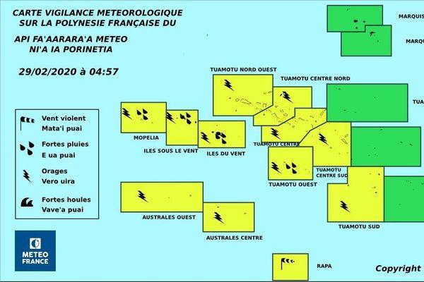 Une grande partie de la Polynésie en vigilance jaune