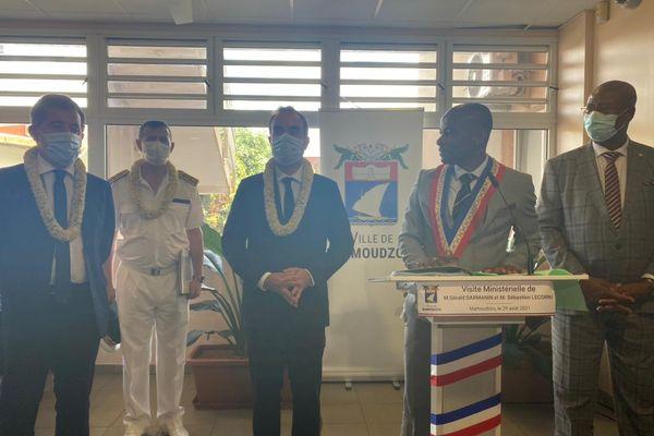 Visite ministérielle Sébastien Lecornu Gérald Darmanin mairie de Mamoudzou