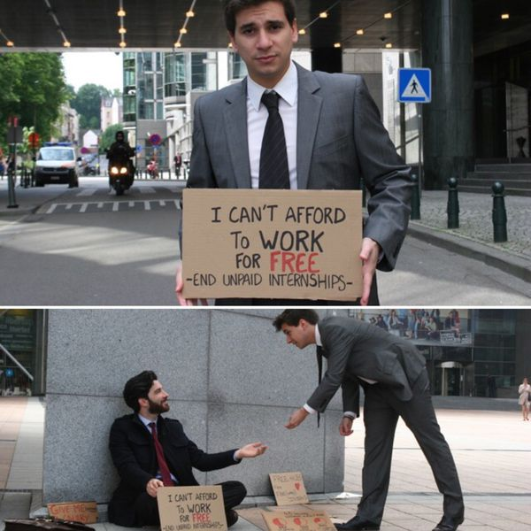 Régis s'est illustré en dénonçant la précarité des stagiaires employés par l'Union Européenne