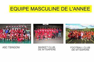 Nominée équipe masculine 2018 : ASC Tsingoni & Basket Club de M'Tapéré & Football Club de M'Tsapéré