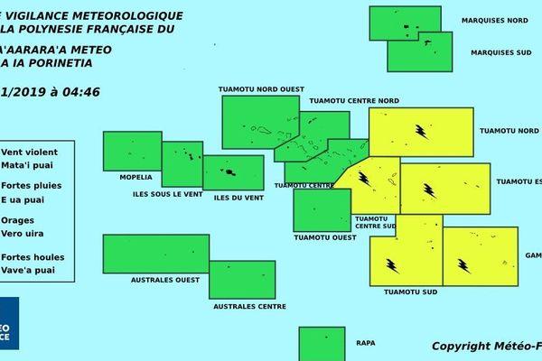 Vigilance jaune pour les orages sur les Tuamotu Est et les Gambier