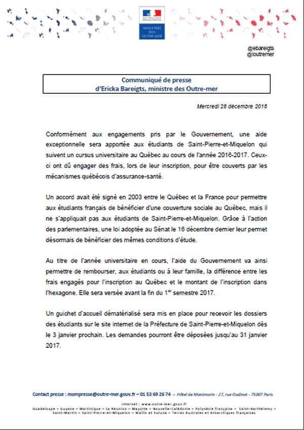 Communiqué du Ministère des Outre-mer