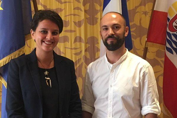 La ministre en compagnie d'Alexandre Le Quéré
