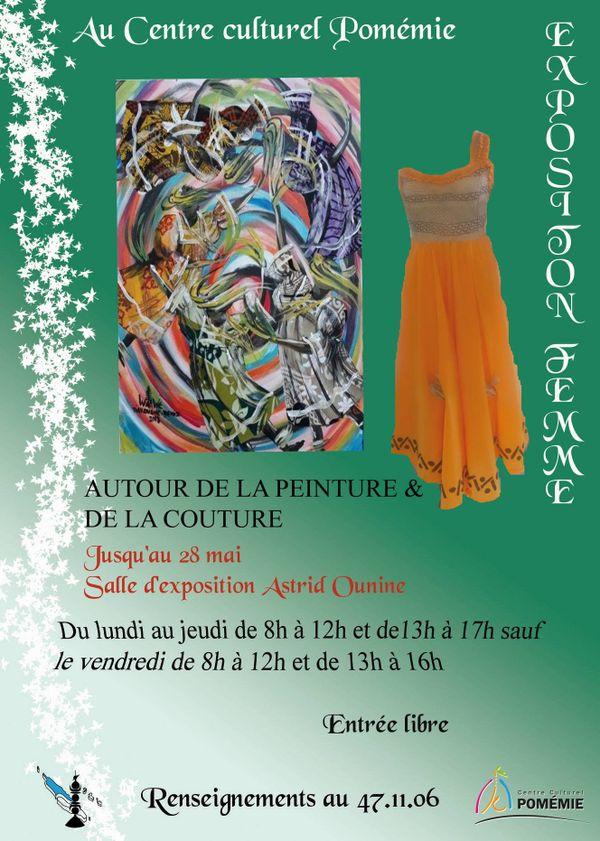 Koné : affiche de l'exposition peinture et couture à Pomémie