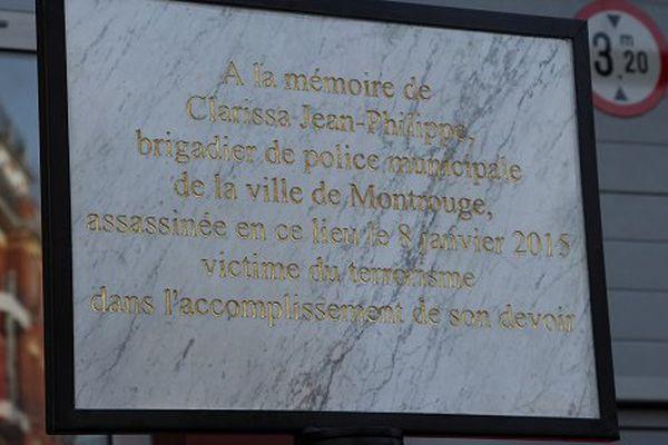 Plaque en mémoire de Clarissa Jean-Philippe