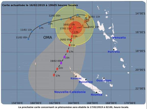 Prévision de déplacement du cyclone Oma, 16 février au soir