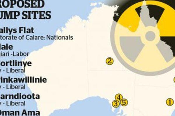 Carte des projets de sites de dépôt du nucléaire en Australie