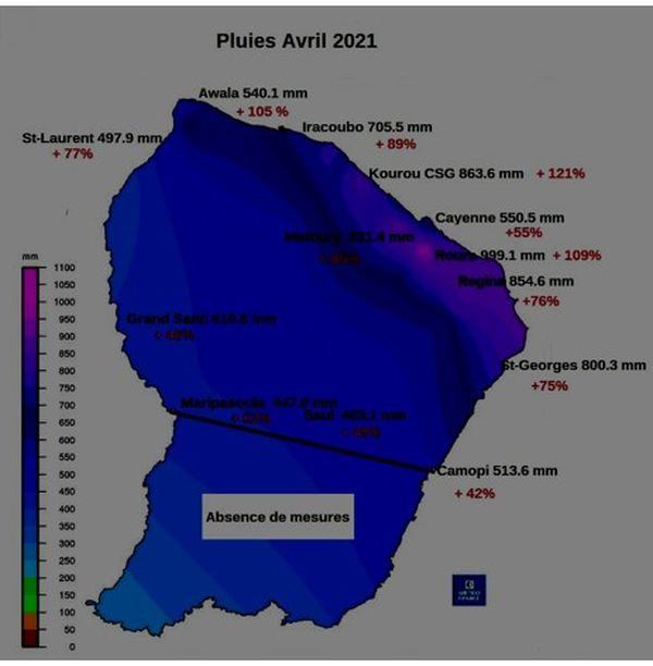 Carte des pluies du mois d'avril