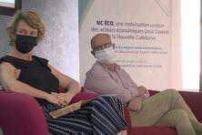 Sur l'estrade au nom de NC Eco, Mimsy Daly présidente du Medef ou encore Xavier Benoist président de la FINC.