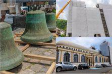 Les cloches de l'église Notre-Dame-De-l'Assomption, ex-cathédrale de Saint-Pierre toujours en travaux (juillet 2021)