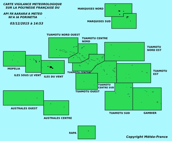 Carte météorologique de la Polynésie Française - 03 12 2015 à 14h53