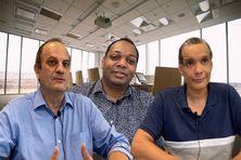 de gauche à droite : Denis Antoine Hérault, président Open-it de 2012 à nos jours - Erol Elisabeth président de 2003 à 2012 - Mickaël Glondu, président en 2001