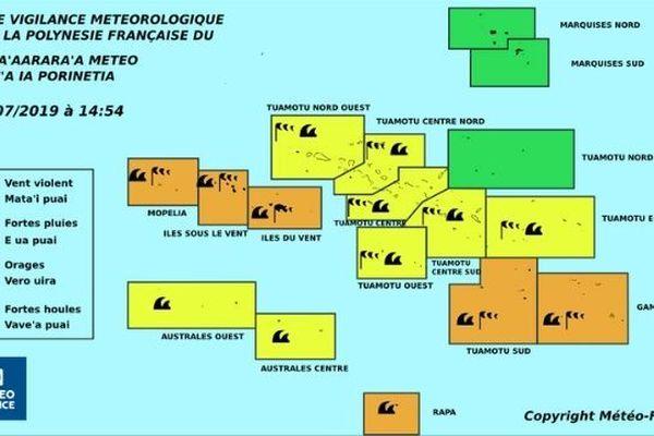 Vigilance orange forte houle sur les zones : Tuamotu Sud, Gambier, Mopelia, Iles du Vent, Iles sous le vent et Rapa