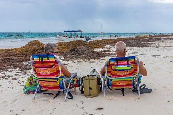 Après les Antilles, les algues sargasses touchent aussi les plages idylliques du Mexique.