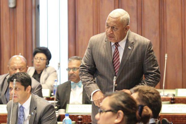 Frank Bainimarama, au Parlement fidjien, 2017