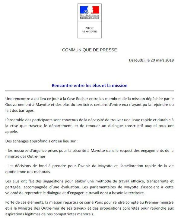 Communiqué préfecture de Mayotte