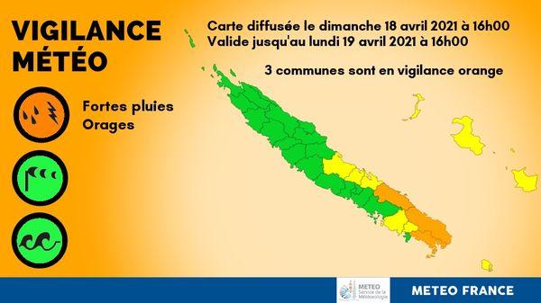 Vigilance orange pluies du 18 avril 2021