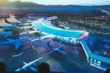 La maquette de l'aéroport Aimé Césaire du Lamentin, après l'extension en cours.