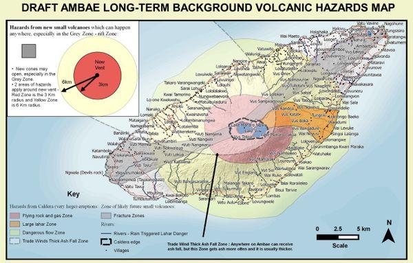 Carte des risques sur l'île volcanique d'Ambae en éruption d eniveau 4 (septembre 2017)