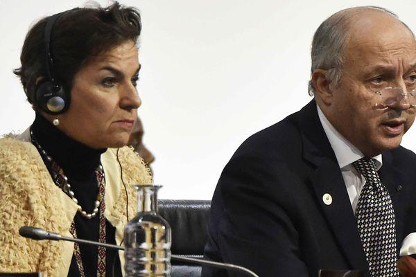 Laurent Fabius, le président de la COP21 et Christiana Figueres, Secrétaire Exécutive de la Convention Cadre des Nations Unies sur les Changements Climatiques
