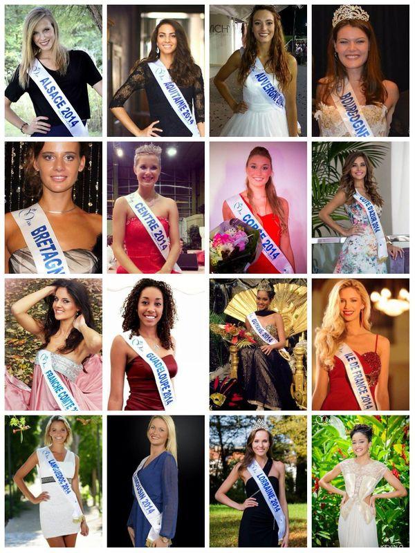 Les 16ères candidates au titre de Miss France 2015