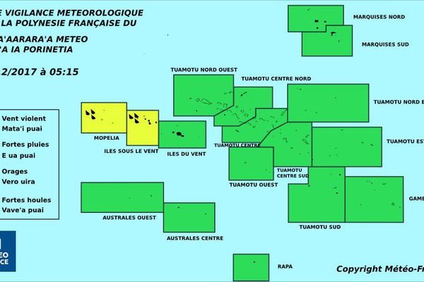 Vigilance jaune pour les fortes pluies aux ISLV et à Mopelia