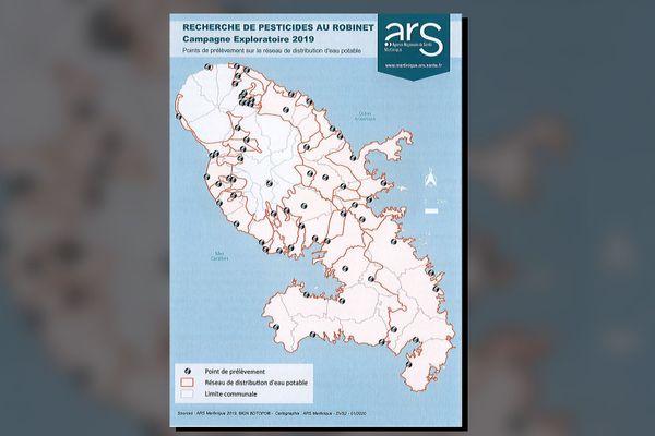 Carte Martinique pesticides