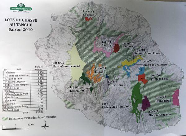 Carte des lots ouverts à la chasse aux tangues 2019