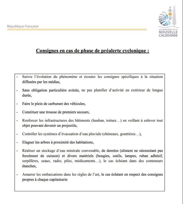 Consignes pré-alerte cyclonique