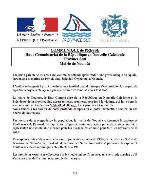 Attaque requin. Communiqué mairie Nouméa, Haut-Commissariat, Province Sud.