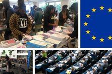 Mise sous pli à Nouméa, drapeau de l'UE, semaine dédiée au lycée Lapérouse et scène de vote au parlement européen.