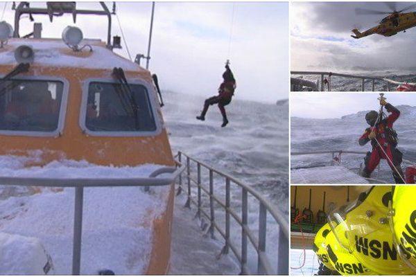 Exercice d'hélitreuillage pour la SNSM et les garde-côtes canadiens