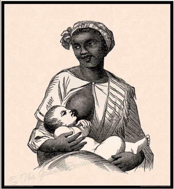 Une esclave nourrit un enfant blanc
