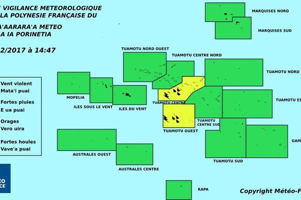 Vigilance jaune pour les orages et les fortes pluies aux Tuamotu centre et ouest