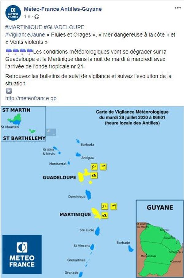 Onde Tropicale 21 : Guadeloupe et Martinique en vigilance jaune