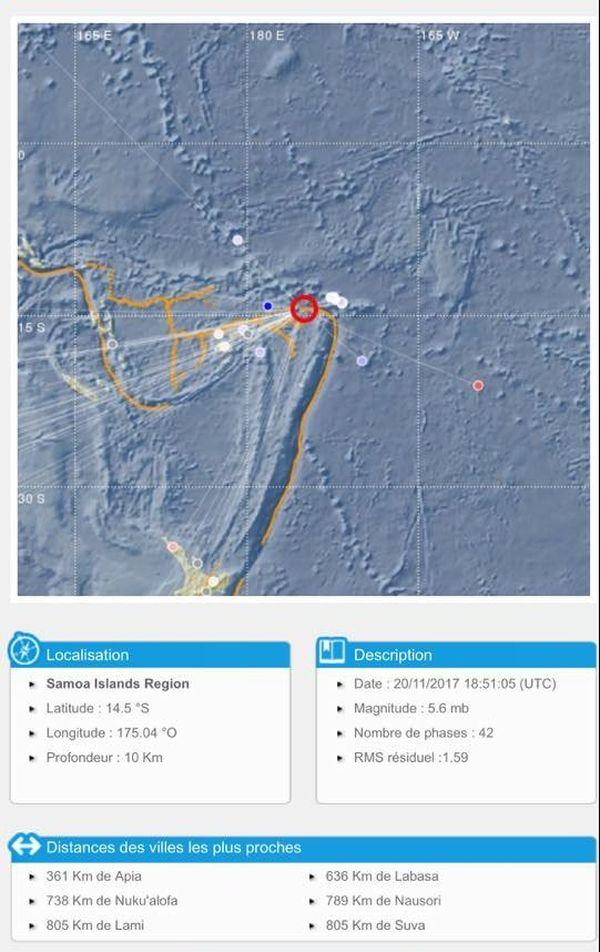 seisme 5.6 au samoa 21 novembre 2017