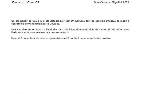 Communiqué de presse de la Préfecture pour un cas de Covid-19
