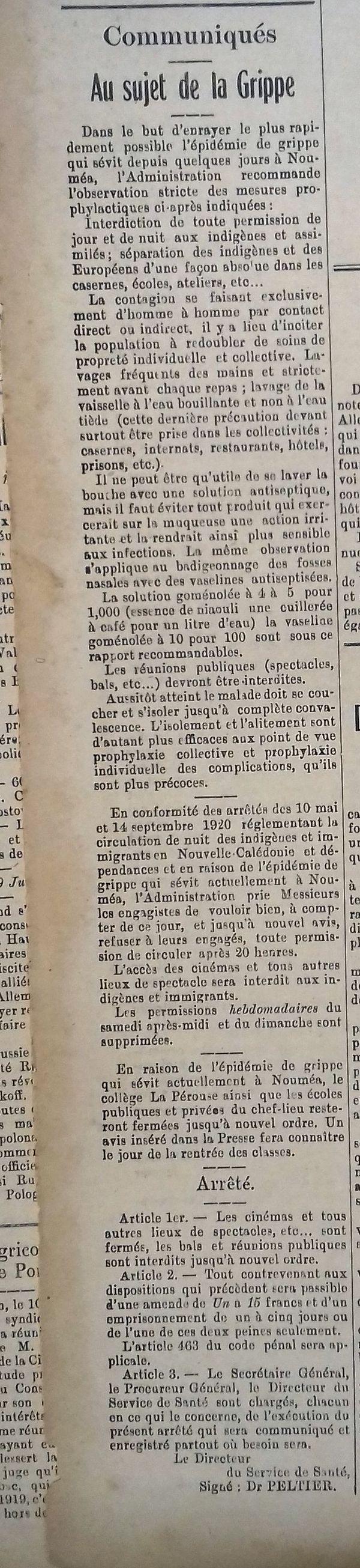 Article grippe espagnole 1921