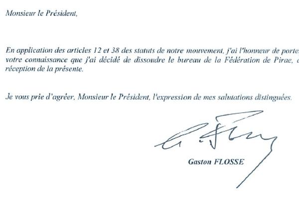 Gaston Flosse annonce à Edouard Fritch la dissolution du bureau de la fédération du Tahoêraa à Pirae