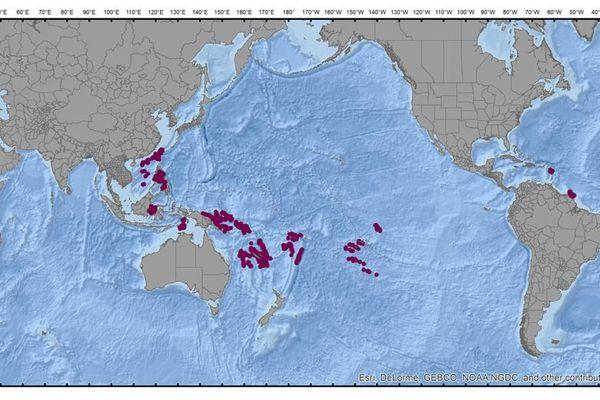 Carte des exploration du Musorstom et de Tropical deep-sea benthos